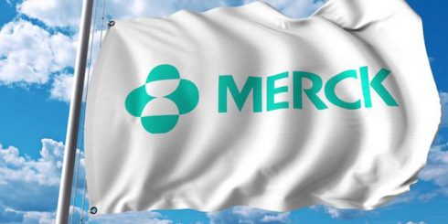 waving flag with merck co logo. editoial 3d rendering