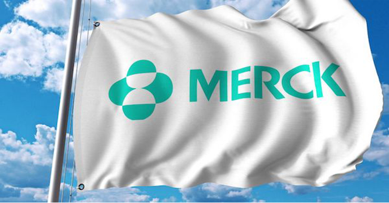 waving flag with merck co logo. editoial 3d rendering