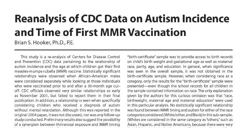 Vaccines Brian Hooker Does Re >> The Need To Further Investigate Mmr Vaccine Autism Relationship