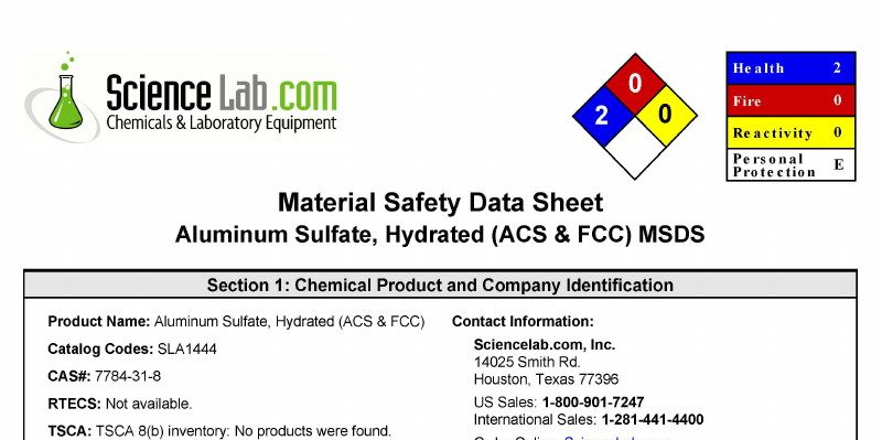 Aluminum Sulfate Material Safety Data Sheet Children S Health Defense