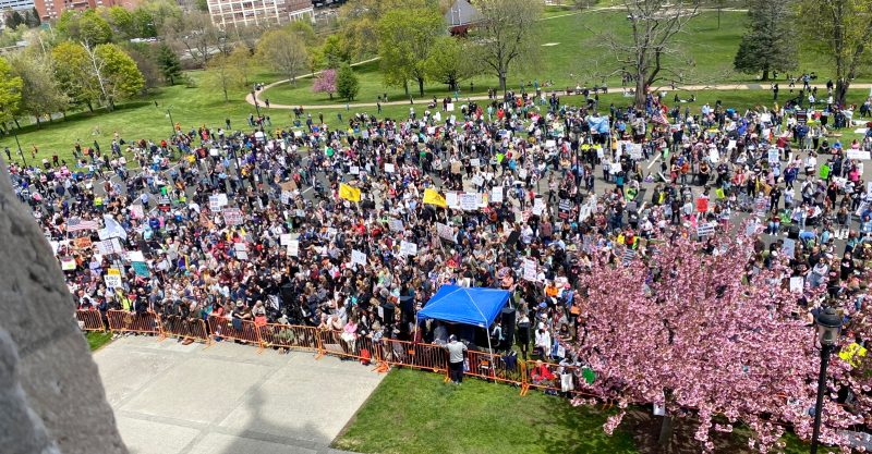 Nearly 5,000 activists gathered Tuesday at the state Capitol to encourage legislators to vote no on the bill.