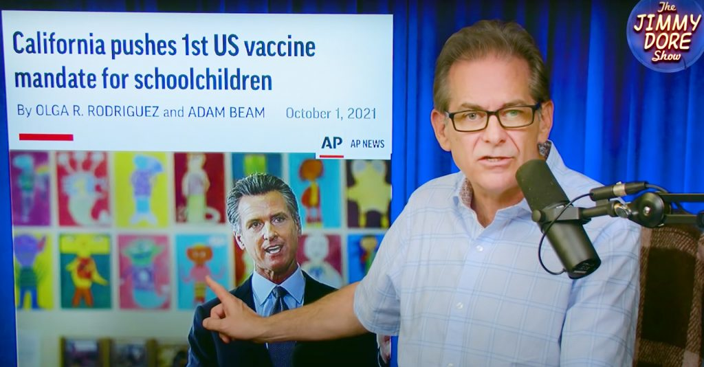 Jimmy Dore and investigative journalist Max Blumenthal discussed the issue of COVID vaccine mandates for children.