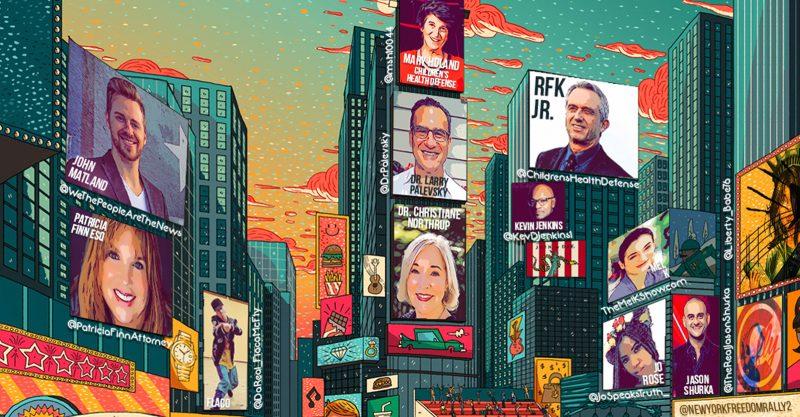 Miles de personas participaron el sábado en la Concentración de Broadway por la libertad en la ciudad de Nueva York.