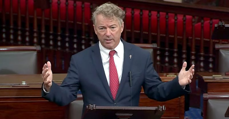 Sen. Rand Paul took to the podium on Capitol Hill to criticize the media and Dr. Anthony Fauci for spreading mistruths about COVID.