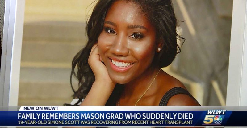 Simone Scott, a 19-year-old freshman at Northwestern University in Evanston, Ill., died June 11 of complications from a heart transplant.
