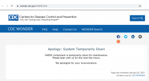 The CDC's Vaccine Adverse Event Reporting System is Down.