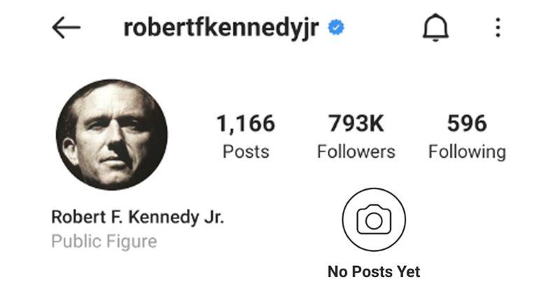 Kennedy, Jr. reagiert auf die Schliessung seines Instagram-Kontos